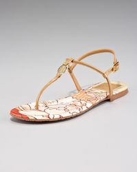 Tory Burch Natural Emmy Print-insole Thong Sandal
