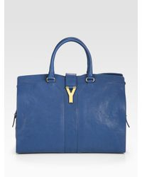 yves saint laurent chyc shoulder bag - Saint laurent Ysl Cabas Chyc Large Leather East West Bag in Blue ...