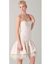Badgley Mischka White Dropwaist Lace & Ostrich Feather Dress