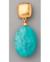 Kenneth Jay Lane Metallic Turquoise Bead Drop Earrings
