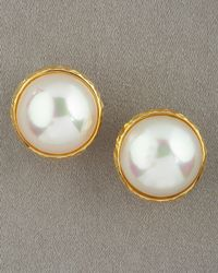 Majorica | Mabe Pearl Earrings, White | Lyst