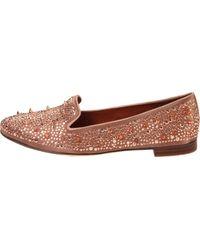 Sam Edelman   Pink Spike-embellished Satin Slippers   Lyst