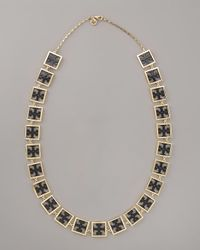 Tory Burch - Black Julian Rosary Necklace - Lyst
