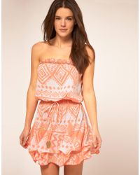 River Island - Neon Orange Rosa Tribal Print Bandeau Dress - Lyst