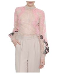 Valentino   Pink Embroidered Lace Shirt   Lyst