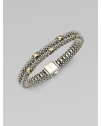 Lagos | Metallic 18k Gold Accented Sterling Silver Double Row Bangle Bracelet | Lyst