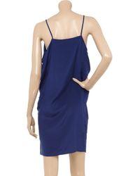 Vanessa Bruno   Blue Embroidered Silk Charmeuse Dress   Lyst