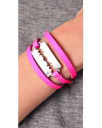 McQ - Pink Razor Triple Wrap Bracelet - Lyst