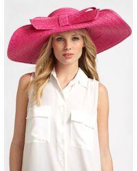 Helene Berman Pink Floppy Bow Straw Hat