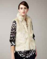 MILLY | Natural Kira Faux Fur Vest | Lyst