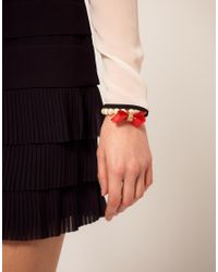 Ted Baker Red Acrylic Pearl Bow Bracelet