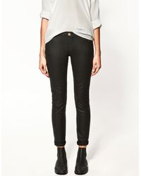Zara | Black Varnish Effect Trousers | Lyst
