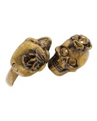 Alexander McQueen | Brown Gold Iris and Skull Ring | Lyst