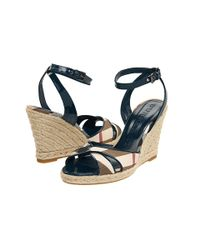 Burberry | Brown Check Patent Leather Wedge Espadrille | Lyst