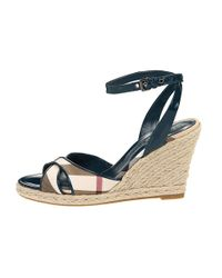 Burberry | Black Check Patent Leather Wedge Espadrille | Lyst