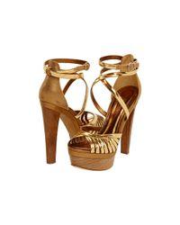 Donna Karan Metallic Platform Sandals
