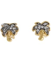 Juicy Couture - Metallic Fresh Picked Pave Palm Tree Studs - Lyst