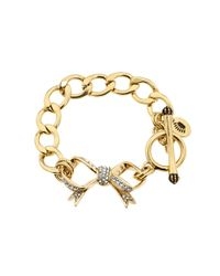 Juicy Couture | Metallic Pave Bow Starter Bracelet | Lyst