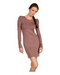 Juicy Couture | Shirred Puff Sleeve Stripe Dress | Lyst