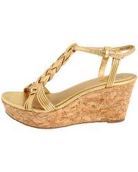 kate spade new york | Metallic Becca Wedge Sandals | Lyst