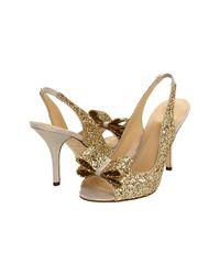 kate spade new york | Metallic Charm - Gold Glitter Peep Toe Pump | Lyst