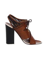 Proenza Schouler - Brown Lace-up Leather Slingback Sandals - Lyst