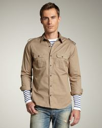 Vince | Natural Cotton Military Shirt for Men | Lyst