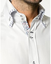 Zara | Blue Double Collar Structured Shirt for Men | Lyst