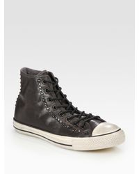 Converse | Black John Varvatos Studded Leather High-tops for Men | Lyst