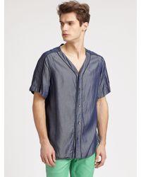 Richard Chai   Blue Washed Denim Baseball Shirt for Men   Lyst