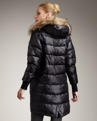 Theory - Black Fur-trim Puffer Coat - Lyst