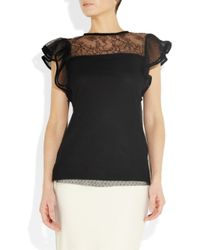 Valentino | Black Point Desprit and Jersey Top | Lyst
