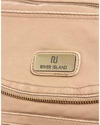 River Island - Natural Zip Messenger Bag - Lyst