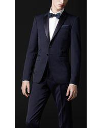 Burberry Prorsum Blue Satin Lapel Dinner Jacket for men