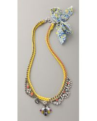 Juicy Couture - Yellow Macrame & Rhinestone Necklace - Lyst