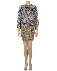 SUNO - Gray Tulip Print Strapless Dress - Lyst