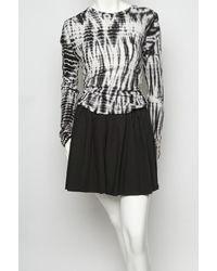 Proenza Schouler | Gray Long Sleeve Tie Dye Tee Shirt in Black/ White | Lyst