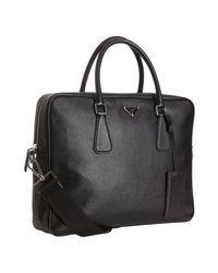 16b5a66923 Lyst - Prada Black Saffiano Leather Convertible Travel Tote in Black ...