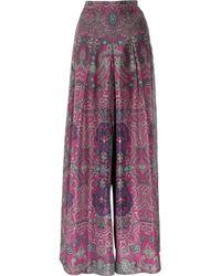 Saint Laurent | Purple Printed Silk-habotai Palazzo Pants | Lyst