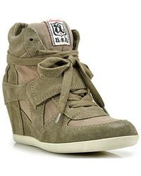Ash | Gray Bowie - Stone Suede Wedge Sneaker | Lyst