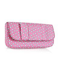 Miu Miu   Pink Polka-dot Canvas Clutch   Lyst