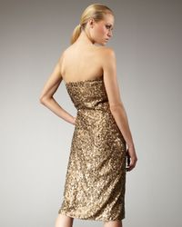Tibi Green Petali Sequined Strapless Dress