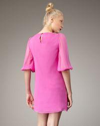 Tibi Pink Ruffle-front Shift Dress