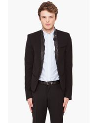 Balmain - Black Python Collar Sport Jacket for Men - Lyst