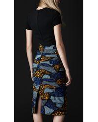 Burberry Prorsum Blue Eclectic Print Silk Dress