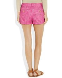 Juicy Couture | Purple Woven Cotton and Linen-blend Tweed Shorts | Lyst