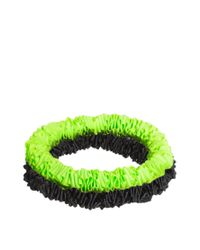 ASOS - Green Pack Of Two Neon Yellow And Black Ribbon Bracelets - Lyst