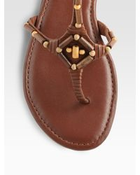 Cole Haan - Brown Larissa Leather Beaded Thong Sandals - Lyst