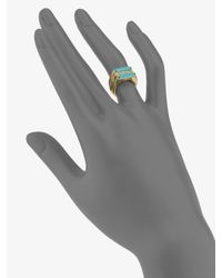 Michael Kors - Metallic Stone & Turquoise Stacked Rings - Lyst