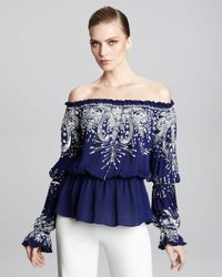 Naeem Khan | Blue Off-the-shoulder Embroidered Peasant Blouse | Lyst